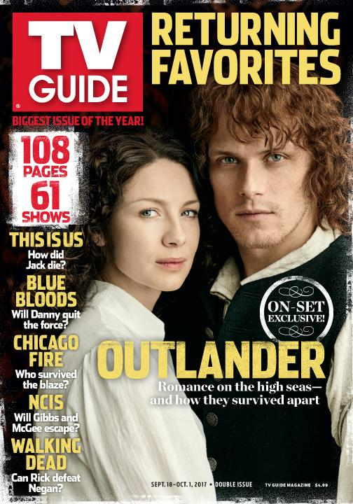 jamie and claire sam and caitriona grace the cover of tv guide rh outlandertvnews com Old TV Guide Magazines Logo TV Guide Magazine
