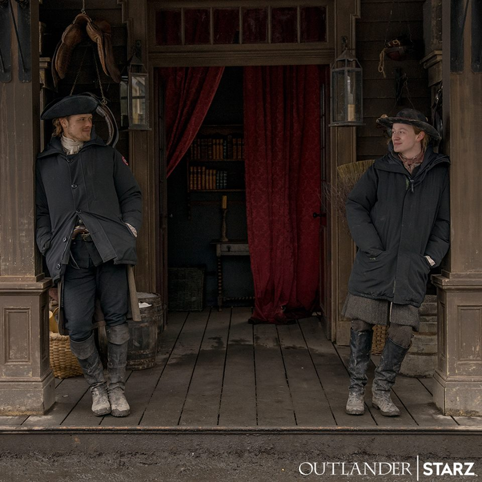 New Behind the Scenes Photo of John Bell and Sam Heughan on Set
