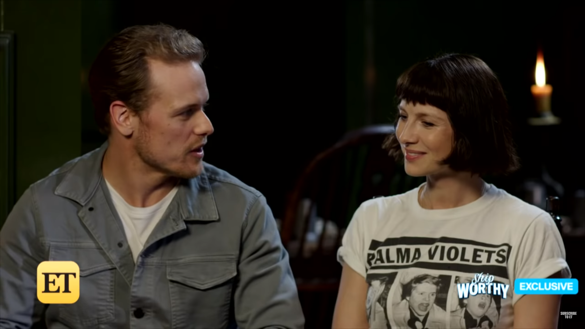 New Sam Heughan and Caitriona Balfe Interview with ET (Video